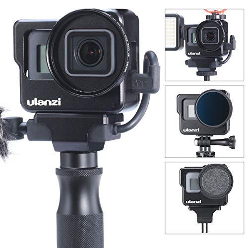 ULANZI V3 Vlogging Fall für Gopro, Schutzgehäuse Cage Shell Frame Mount w Mikrofon LED-Videoleuchte Halterungen / 52 mm UV-Filter/Objektivdeckel für Gopro Hero 7 6 5 Vlog Setup Zubehör
