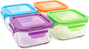 Wean Green Lunch Cubes Glass Food Storage Garden Pack - Pack of Four (4), 16 oz square containers Blue, Orange, Green, Grape
