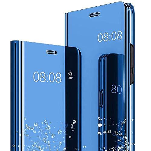 TOPOFU Handyhülle für Xiaomi Poco X3 NFC,Transparent Flip Spiegel Schutzhülle,Mode Kratzfest Stoßfest Leder Hülle mit Ständer Funktion,PC/PU Mirror Original Case Cover,Blau