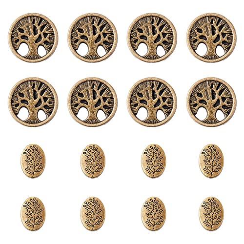 PandaHall 60 cuentas espaciadoras para árbol de la vida, cuentas de alas de ángel, bronce antiguo, aleación tibetana de metal, para decoración de boda, manualidades, joyería