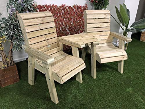 Churnet Valley Garden Furniture CLOVER LOVE SEATS STRAIGHT TRAY, Natural