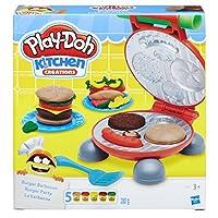 Alles für eine Play-Doh Burger Party Knetpresse für Burger und allerlei Zubehör Inklusive 5 Dosen Play-Doh Knete Motiviert zum kreativen Spielen und fördert die Feinmotorik ab 3 Jahren geeignet