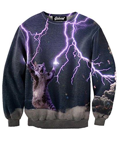 Beloved Shirts Lightning Cat Sweatshirt - Premium All Over Print Graphics