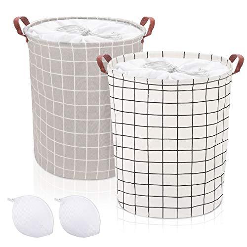 Emooqi Cesto Ropa Sucia, 2 Piezas Cestos para la Colada Plegables Impermeables de Algodón, Cestos de Lavandería con Asas y Cordón para Ropa Juguetes, 45 x 35 cm, 43L (blanco)