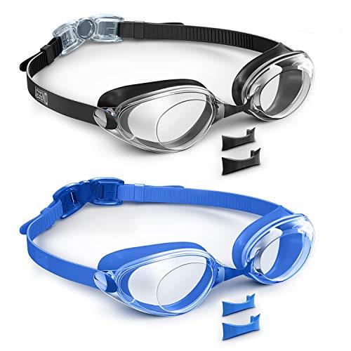 Aegend - Gafas de natación, lentes planas, 2 unidades, protección UV, antivaho y antifugas, con funda de protección gratuita para adultos, hombres, mujeres y jóvenes, Negro y azul