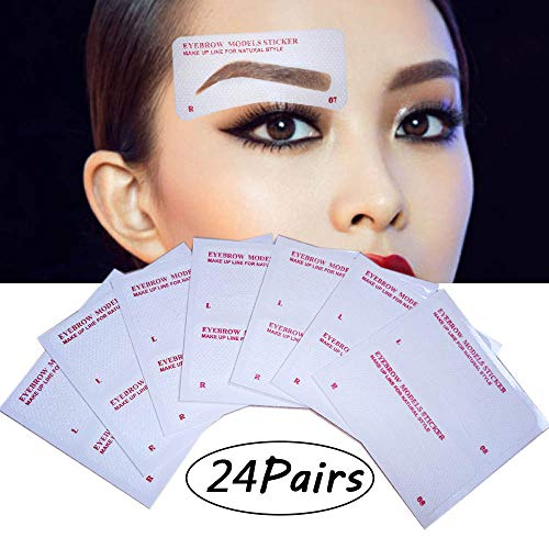 EBANKU 24 Pairs Eyebrow Stencils, 24 Styles Non-Woven Eyebrow Shaping Stencils, Eyebrows Grooming Stencil Kit Eyebrow Template DIY Makeup Beauty Tools