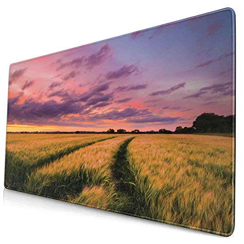 KASABULL Extra Large Gaming Mouse Pad Flowing Crop At Sunset Morning In Nature Countryside Style Cloudscape Scene 400x750 mm Professional Desk Mats Anti-Slip Rubber Base Keyboard
