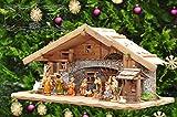 Weihnachtskrippe ÖLBAUM 70 cm, mit Brunnen + Dekomaterial, Massivholz mit BRUNNEN + LED historisch braun - mit 12 x PREMIUM-Krippenfiguren + goldener