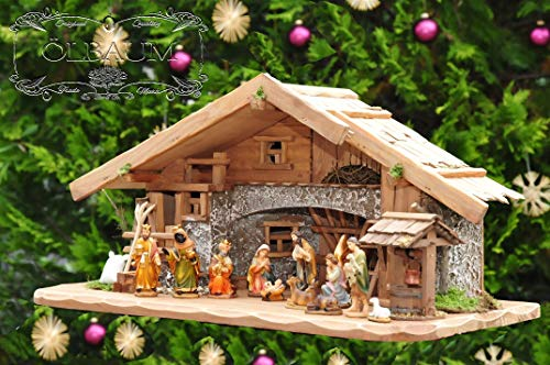 Große Weihnachtskrippe, mit Brunnen + Dekor, 60 cm Massivholz historisch braun - mit 12 x PREMIUM-Krippenfiguren + Engel ÖLBAUM