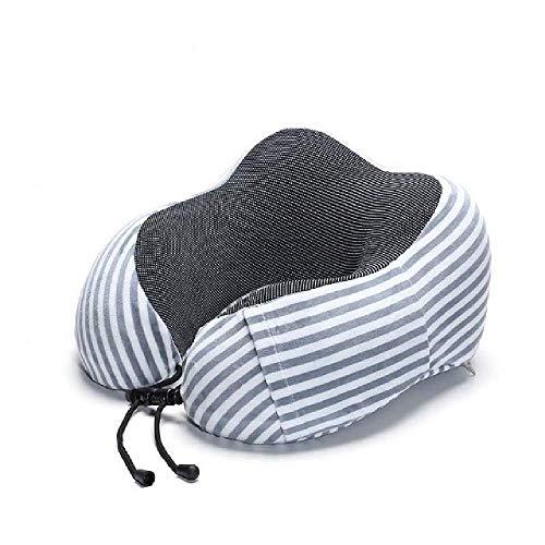 Almohada de cuello en forma de U de espuma viscoelástica suave con rebote lento, almohada de viaje, cuello sólido, cuidado de la salud cervical, ropa de cama envío de gota, Rayas grises, 30x28x14cm