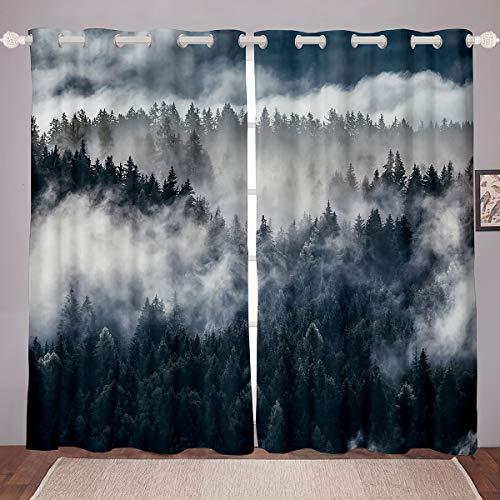 Smoky Mountain Gardinen Pineforest Fenster graue Bäume natürliche Landschaft Kunst Berge mit Firforest Pfeil Folk Stil Retro Print Dekor Verdunklung für Schlafzimmer 106,7 x 213,4 cm