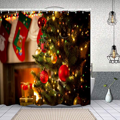 Starodec Cortina de Ducha Impermeable Hermosa Chimenea Decorada árbol de Navidad cabaña Cortinas baño con Ganchos Lavable a Máquina 62x72 Inch