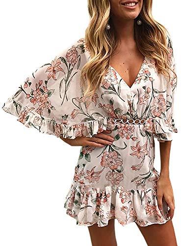 ECOWISH Damen Kleider V-Ausschnitt Sommerkleid Blumen Mini Strandkleid Boho Rüschen Fledermausärmel Freizeitkleider Rosa M