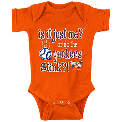 Rookie Wear by Smack Apparel NY Baseball Fans. is It Just Me?! (Anti-NYY) Orange Onesie (NB-18M) (Onesie, 6M)