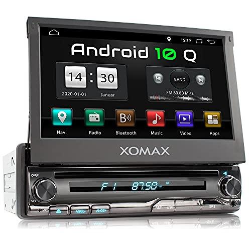 XOMAX XM-DA775 Autoradio con Android 10 I Quad Core, 2GB RAM, 32GB ROM I Navigatore GPS I Supporto WIFI, 4G, DAB, OBD2 I Bluetooth I Touch Screen 7   I DVD, CD, USB, SD, AUX, RDS I 1 DIN