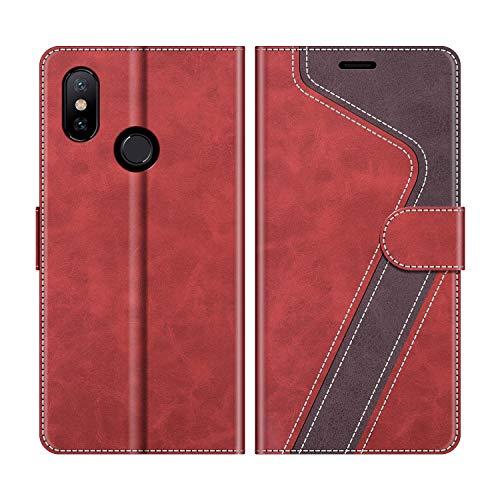 MOBESV Funda para Xiaomi Mi A2, Funda Libro Xiaomi Mi A2, Funda Móvil Xiaomi Mi A2 Magnético Carcasa para Xiaomi Mi A2 Funda con Tapa, Rojo