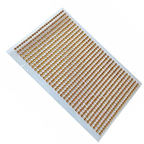BTPHUONG Nail Sticker 750 Pcs/Set 3mm DIY Decal Mobile Decoration Art Crystal Diamond Rhinestone Self Adhesive Scrapbooking Flat Stickers (Color: Gold)