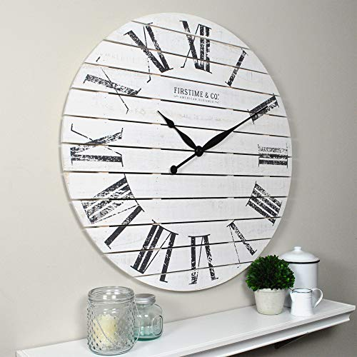 FirsTime & Co. Farmhouse Shiplap Wall Clock, American Crafted, White, 29 x 2 x 29, (00273)