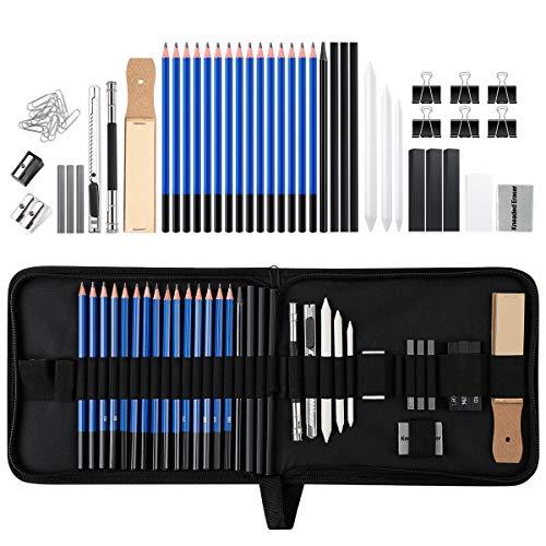 Skizzierstifte Set, 42 Stücke Bleistift Set Zeichnen Skizzieren Stifte Profi Art Werkzeug Set Skizzierset mit Zeichnen Zubehör Set für Künstler, Anfänger, Erwachsene und Kinder