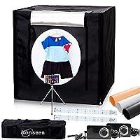 Konseen 撮影ボックス 撮影キット 70x70x70cm 光度調整可能 192個 5500K LEDライト付き プロな 写真撮影 ボックス 撮影ブース 3枚PVC背景布 1枚柔光布付き 収納ケース付き 簡易スタジオ