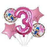 Globo 5pcs / set 18inch rosado de la estrella de dibujos animados Pocoyó hoja hincha Set 30 pulgadas Ducha Número Aire Globos de bebé Niños Decoración fiesta de cumpleaños ( Color : Number 3 set )