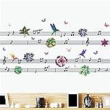 Pájaros, Flores Y Nota De Notación Musical, Pegatinas De Pared, Arte Musical, Calcomanías De Pared Para Habitaciones De Niños, Dormitorio, Sala De Música, Decoración Del Hogar, 124X60Cm