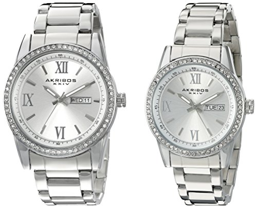 Akribos XXIV Men's and Women's Watch Matching Set - His and Her and Crystal Filled Watch Roman Numerals With Date Window on Stainless Steel Silver Bracelet - AK888