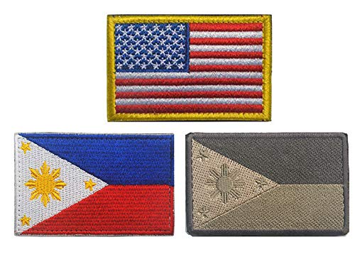 American Flag Philippines Flag Patch US Filipino Sew On Embroidered Military Tactical United States of America Emblem Armband Shoulder Badge Applique for Coat Jacket Gear Cap Hat Backpack