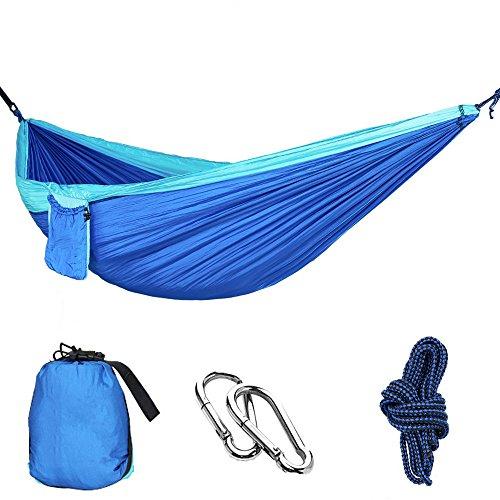 MMTX Camping Hammock 2 Persona Durevole Compatto Appeso Paracadute Tessuto in Nylon Dormire Campeggio Outdoor Garden Beach Viaggi Backpacking Escursioni (blu) (Blu)