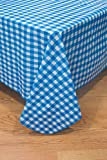 BRODER MFG. INC. - Blue Check 52x52 Tablecloth, Vinyl Flannelback - Wipeable, for Everyday use Indoors & Outdoors