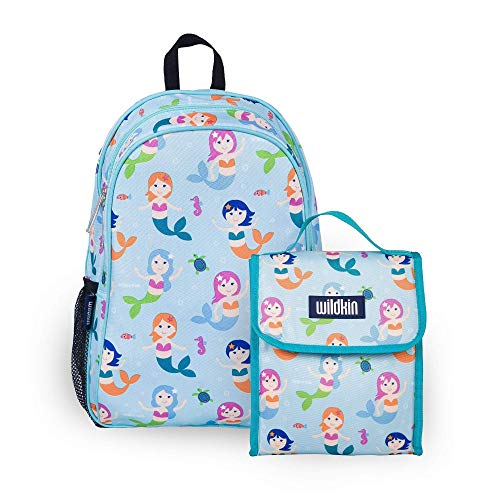 Wildkin 15 Inch Kids Backpack Bundle with Lunch Bag (Mermaids)