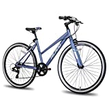 Hiland Hybrid Bike for Adult 700C Wheels with 7 Speeds