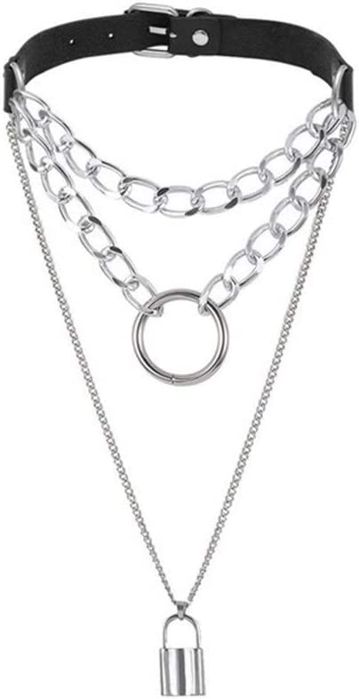 SHOYY Gothic Lock Chain Necklace Punk Collar Goth Pendant Necklace Women Black Pendant (Metal Color : Lock)