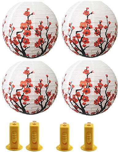 4PCS Linternas de papel Chino Japonés Colgando Lámpara Linternas de Papel con Luz LED para la decoración del hogar o del partido (Blanco)