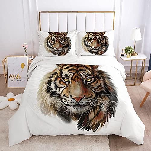 Sängkläder påslakan Grymt djur tiger mönster3 ST MED Kuddfodral Täckeöverdrag Dubbel Ultramjukt Anti Allergiskt Strykjärn Lyxig Mikrofiber Dubbel 135x200cm