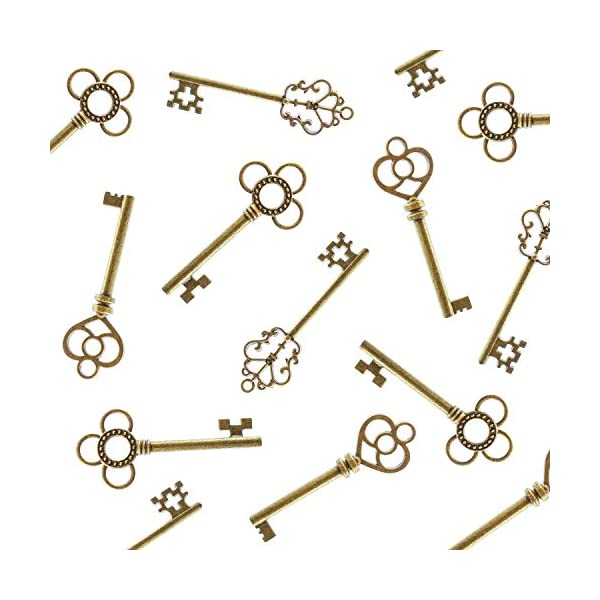 Antique Style Bronze Brass Skeleton Castle Dungeon Pirate Keys for Birthday Party Favors, Mini Treasure Toy Gifts… 3
