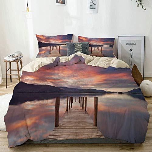 Set copripiumino beige, stampa paesaggio allagato molo Inghilterra, set di biancheria da letto decorativo 3 pezzi con 2 fodere per cuscino facile da pulire anti-allergico morbido liscio