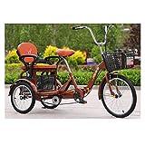 LICHUXIN 16 Pulgadas Bicicleta Pedal Ciclismo Triciclo Bicicleta con Cestas Bicicleta Triciclo Plegable con Asiento Respaldo para Adultos Personas Mayores Compras Cruise (Color : Brown)