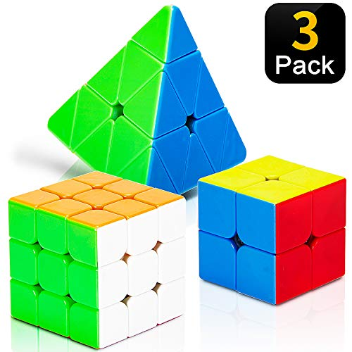 STEAM Life Educational Speed Cube Set 3 Pack Magic Cube | Includes Speed Cubes 3x3, 2x2 Speed Cube, Pyramid Cube | Puzzle Cube Puzzles Bundle