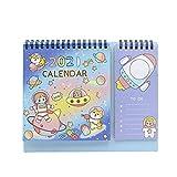 Suillty Cute Cartoon Desktop Calendars,2020-2021 Desk Standing Flip Calendar Table Memo Daily Weekly Monthly Yearly Agenda Planner for Home Office School Supplies