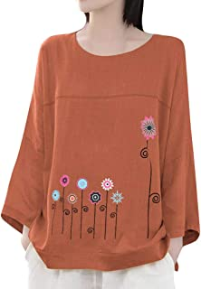 FEISI22 Women's Linen Retro Chinese Frog Button Tops Blouse T Shirt High Low Shirt Long Sleeve Tops Casual Sweatshirt
