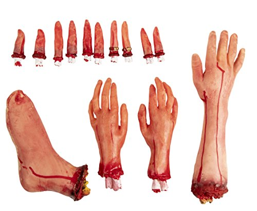 Fake Body Part  14-Piece Bloody Human Body Parts, Artificial Broken Foot, Arm, Hands Fingers Halloween Party Props, Haunted House Decoration, April Fool Prank Toys