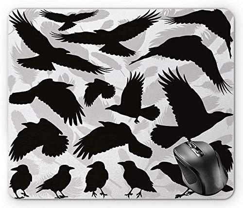 Artistieke ontwerp van de zwarte kraaienmuismat met vogel- en veersilhouetten zwart lichtgrijs en wit muismat
