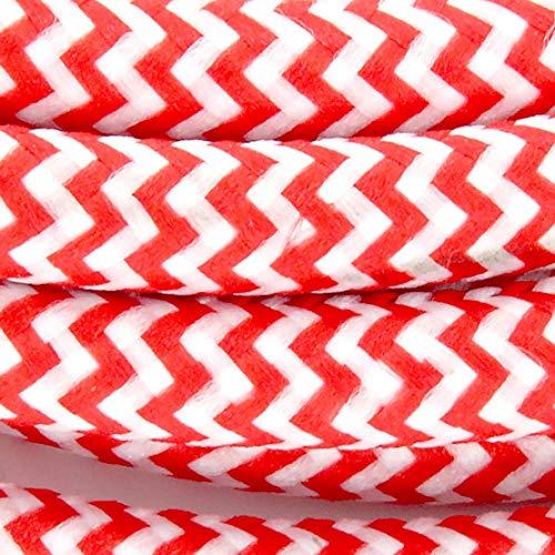 Cable textil con enchufe e interruptor (2 m), color rojo y blanco