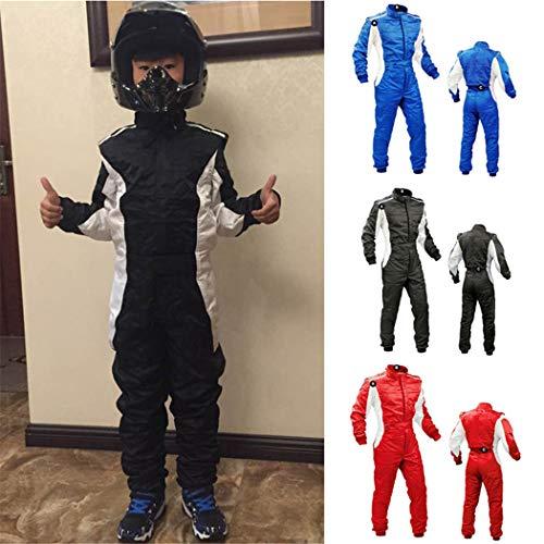 Traje de Karting para niños a Prueba de Agua de Dos Capas, Club de Motocicletas de Motocicletas para niños, Traje de Mono, Trajes de Carreras de Karting Black L