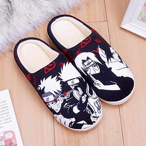 LITAO FUSHI Warme und schöne Anime Herren und Damen Winter Plüsch Hausschuhe Home Freizeit Indoor rutschfeste Schuhe-Naruto_290 (weiblich 42-44male-41-43.5)