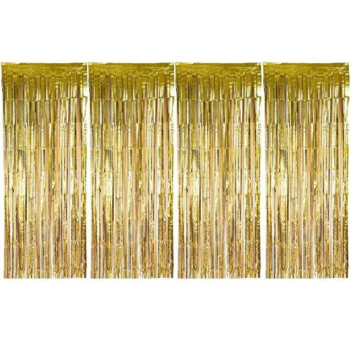 sancuanyi (1m x 2.5m) 4 Stück Lametta Vorhänge Dekoration Folie Vorhang Glitzer Deko Glänzende Fransenvorhang Fransen für Hochzeit Disco Geburtstagsdekoration DIY Party Favor Dekorationen (Gold)