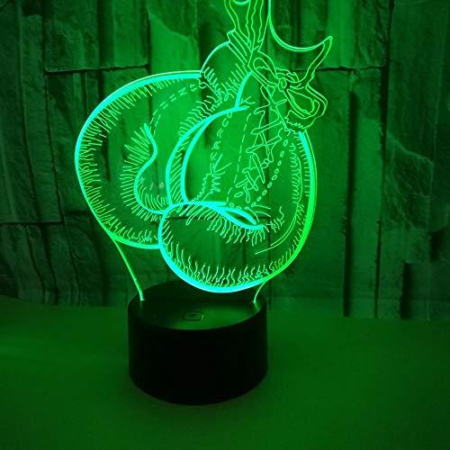 HHANN 3D Illusion Lampe Boxhandschuhe Led Nachtlicht Usb Stromversorgung 16 Farben Blinken Berührungsschalter Schlafzimmer Schreibtischlampe Für Kinder Weihnachten Geburtstag Geschenk