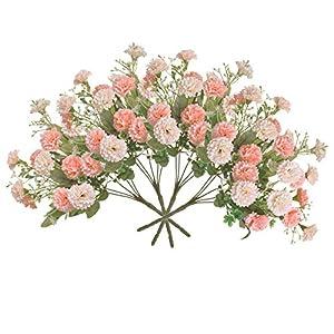 Auxsoul Artificial Flowers 4 Packs Plastic Carnations Silk Hydrangea Bouquet Decor, Fake Carnations, Flower Arrangements Table Centerpieces
