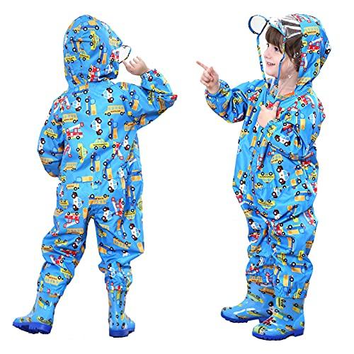 FILOWA Chubasqueros Infantil,Impermeable Chaquetas Lluvia Niña Niño Traje de Lluvia Azul Carros Caricatura con Capucha Mono Grande Frozen Poncho Escuela Running Pantalones Capa Bebé Unisexo 1-3 años